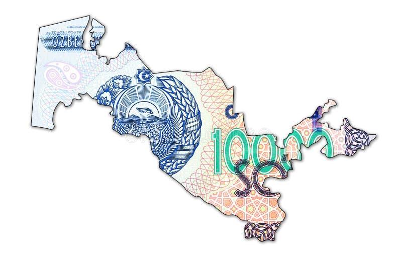 Complemento della banconota del som dell'Uzbeco 10000 nella forma dell'Uzbekistan immagine stock libera da diritti