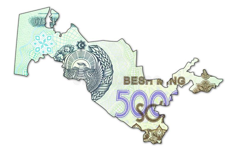 Complemento della banconota del som dell'Uzbeco 5000 nella forma dell'Uzbekistan fotografie stock
