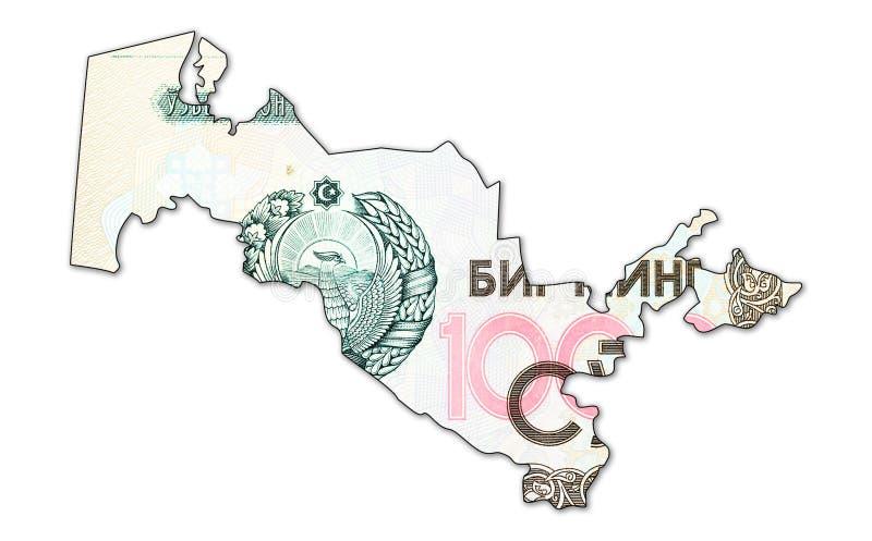 Complemento 1000 della banconota del som dell'Uzbeco nella forma dell'Uzbekistan fotografia stock libera da diritti