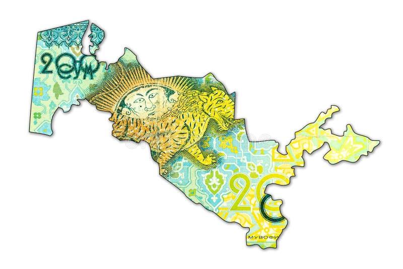 Complemento della banconota del som dell'Uzbeco 200 nella forma dell'Uzbekistan immagine stock
