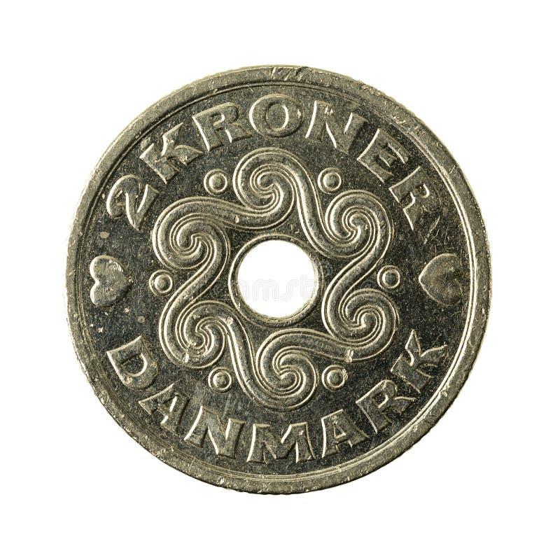 2 complemento della moneta 2005 della corona danese fotografia stock libera da diritti