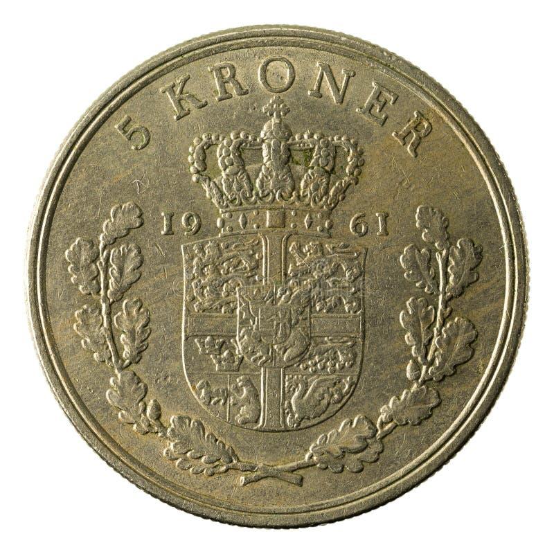 5 complemento della moneta 1961 della corona danese fotografia stock libera da diritti