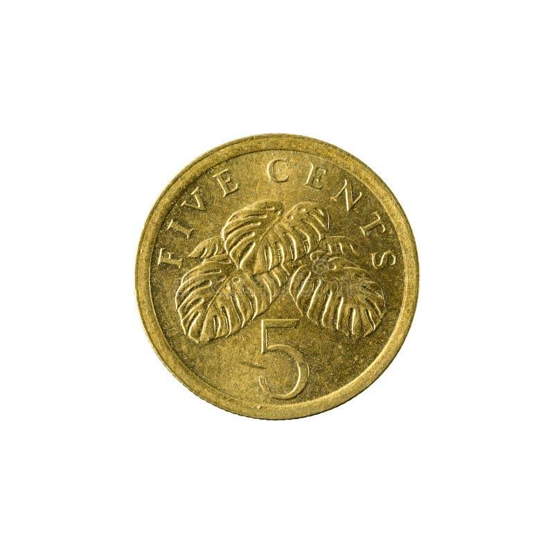 5 complemento della moneta 1989 del centesimo di Singapore fotografie stock libere da diritti