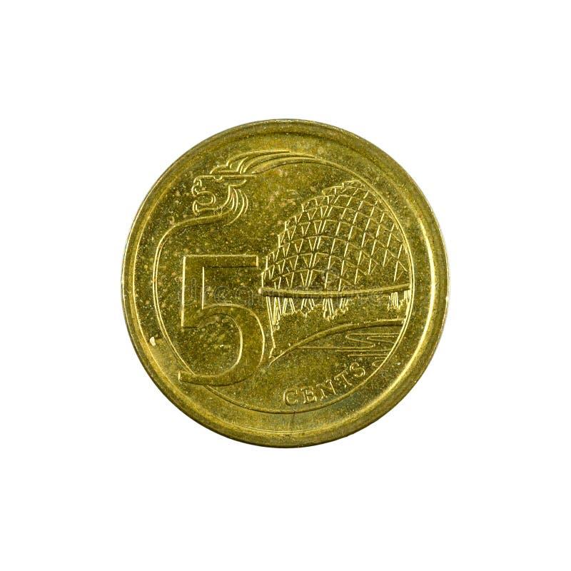 5 complemento della moneta 2013 del centesimo di Singapore isolato su fondo bianco fotografie stock