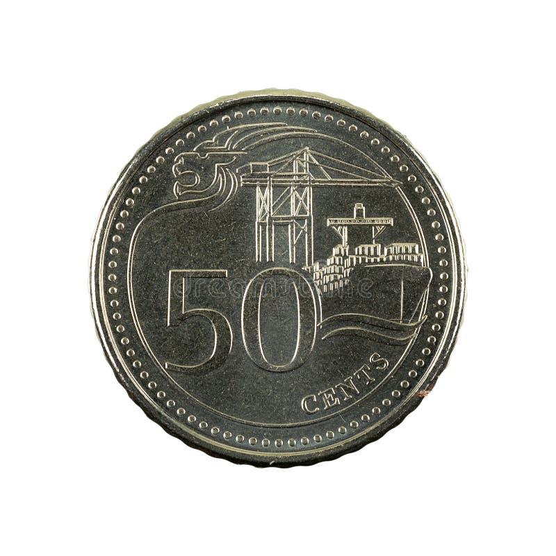50 complemento della moneta 2016 del centesimo di Singapore isolato su fondo bianco fotografia stock libera da diritti