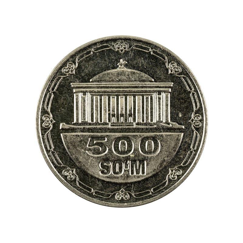 500 complemento della moneta 2018 del som dell'Uzbeco isolato su fondo bianco fotografia stock libera da diritti