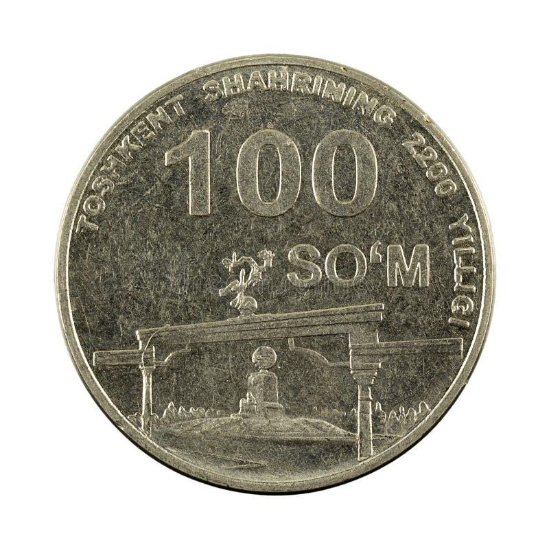 100 complemento della moneta 2009 del som dell'Uzbeco isolato su fondo bianco immagini stock libere da diritti