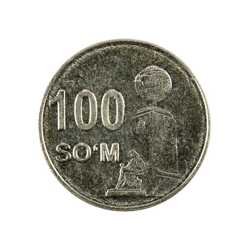 100 complemento della moneta 2018 del som dell'Uzbeco isolato su fondo bianco fotografia stock