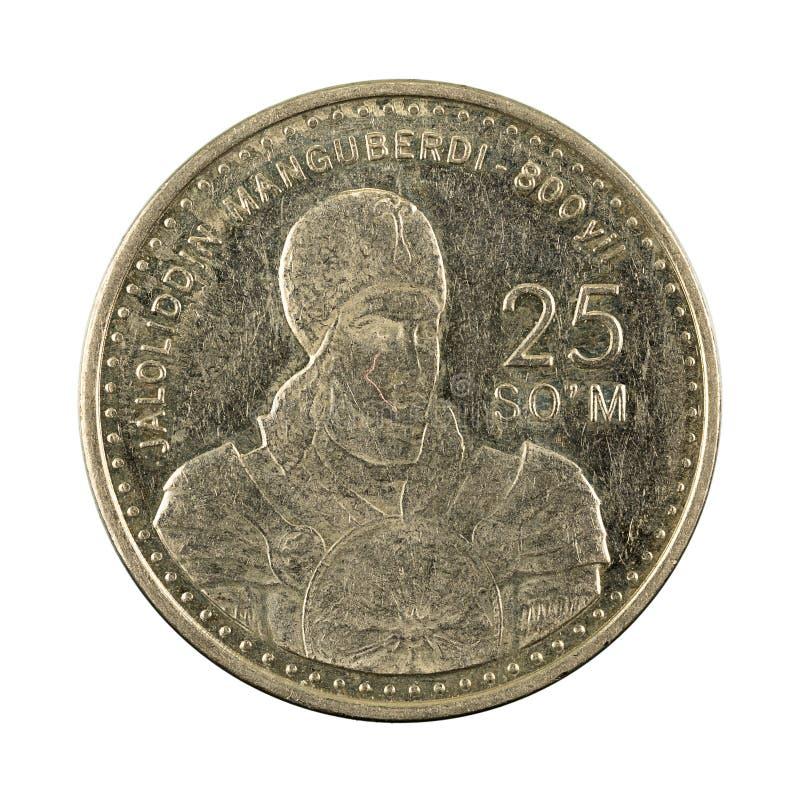 25 complemento della moneta 1999 del som dell'Uzbeco isolato su fondo bianco fotografia stock libera da diritti