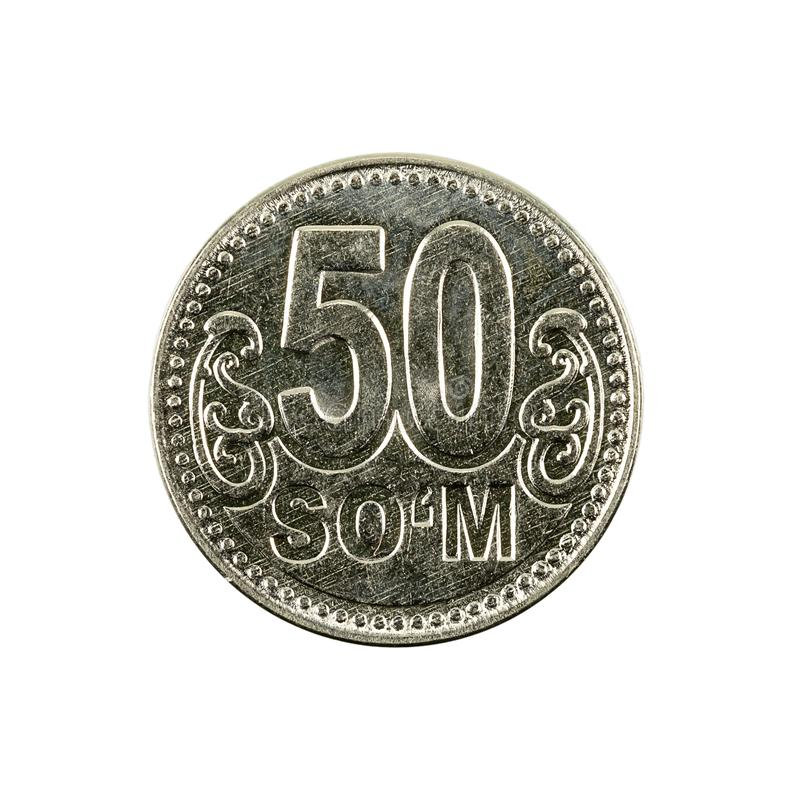 50 complemento della moneta 2018 del som dell'Uzbeco isolato su fondo bianco fotografia stock libera da diritti