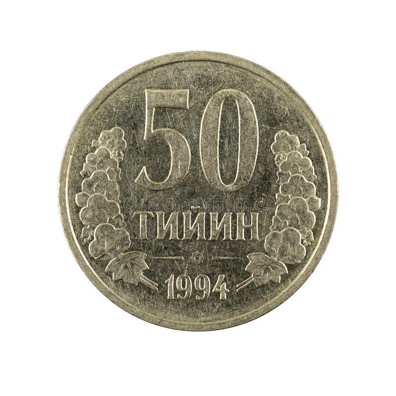 50 complemento della moneta 1994 del tiyin dell'Uzbeco isolato su fondo bianco immagine stock libera da diritti