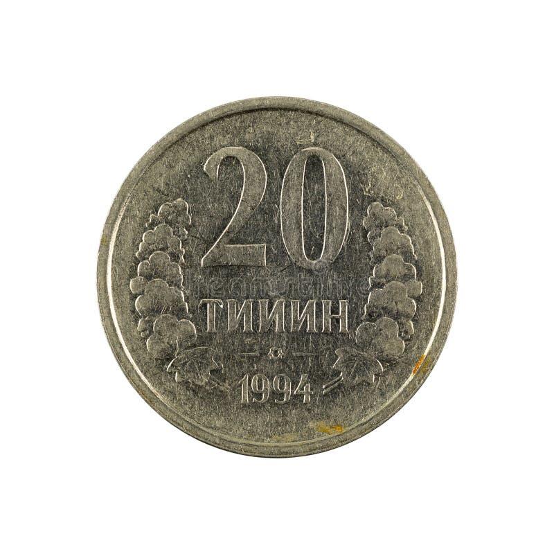 20 complemento della moneta 1994 del tiyin dell'Uzbeco isolato su fondo bianco fotografia stock libera da diritti