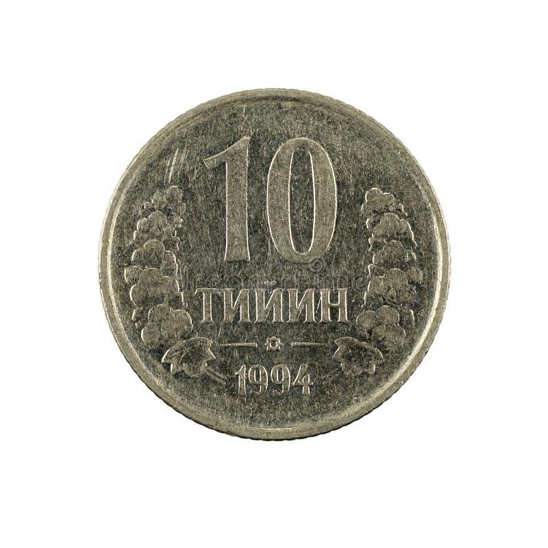 10 complemento della moneta 1994 del tiyin dell'Uzbeco isolato su fondo bianco fotografie stock