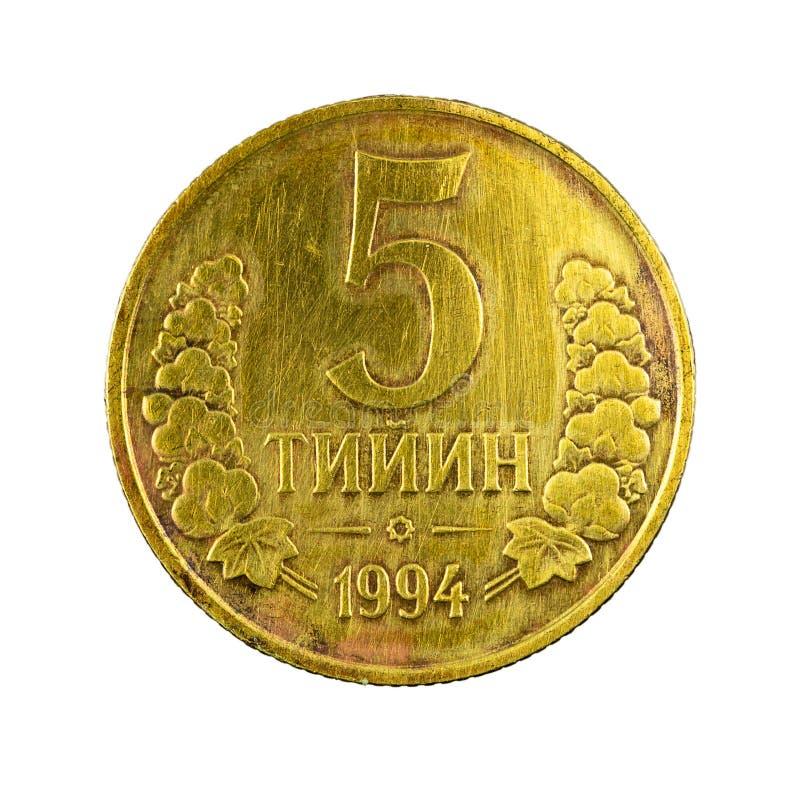 5 complemento della moneta 1994 del tiyin dell'Uzbeco isolato su fondo bianco immagini stock