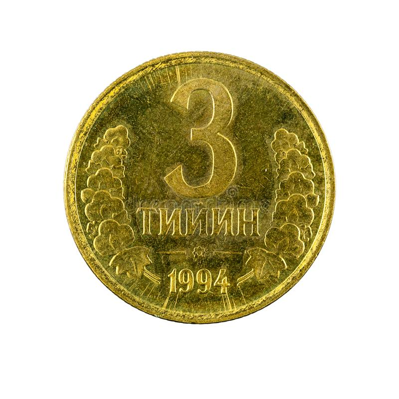 3 complemento della moneta 1994 del tiyin dell'Uzbeco isolato su fondo bianco immagini stock