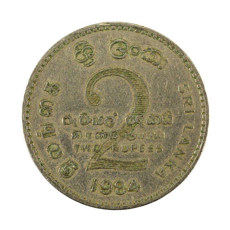 2 complemento dello Sri Lanka della moneta 1984 della rupia isolato su fondo bianco fotografia stock libera da diritti