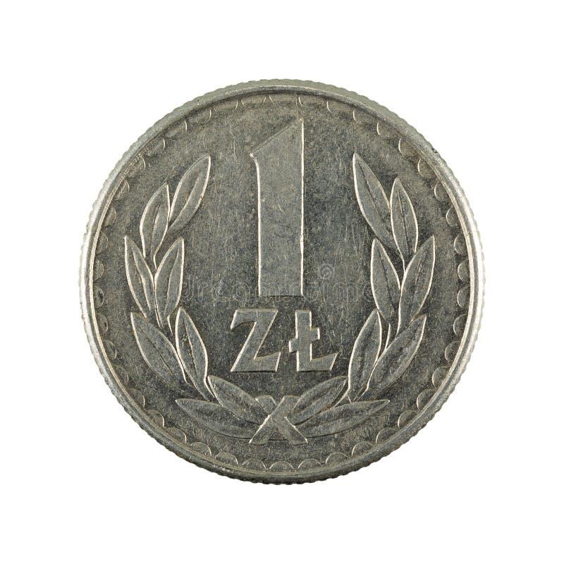 1 complemento polacco della moneta 1986 di zloty isolato su fondo bianco fotografie stock libere da diritti