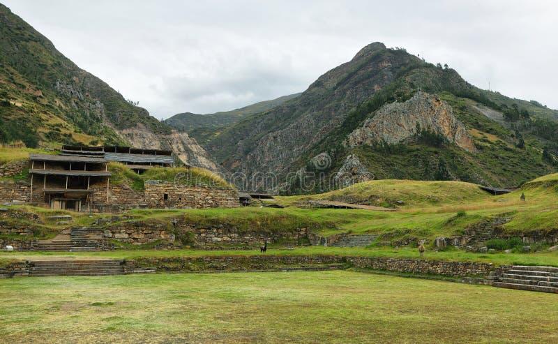 Complesso del tempio di Chavin de Huantar, Perù fotografia stock