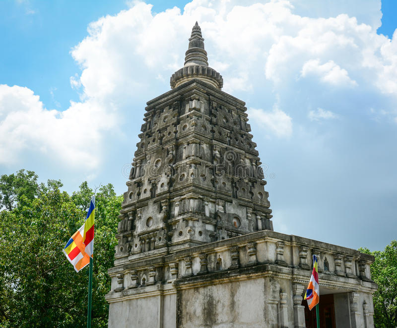 Complesso del tempio di Mahabodhi in Gaya, India fotografie stock libere da diritti