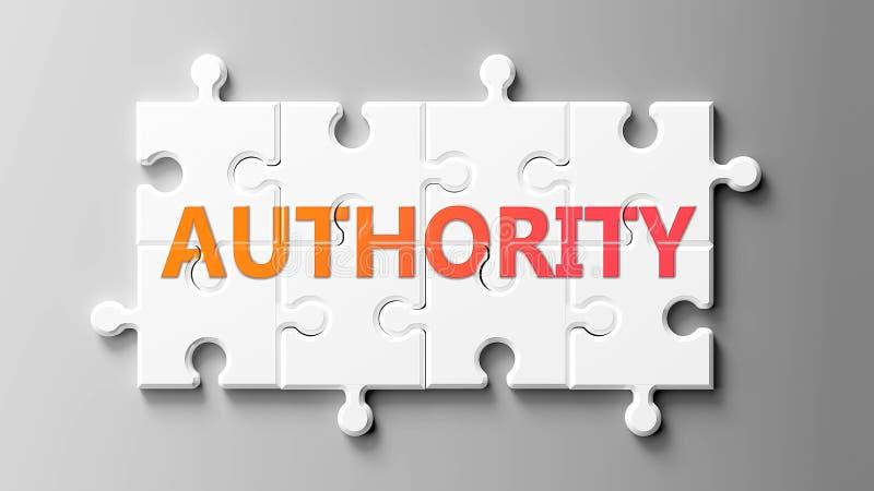 Complesso di autorità come un puzzle - raffigurato come 'word Authority' su un puzzle per mostrare che l'autorità può essere diff illustrazione di stock