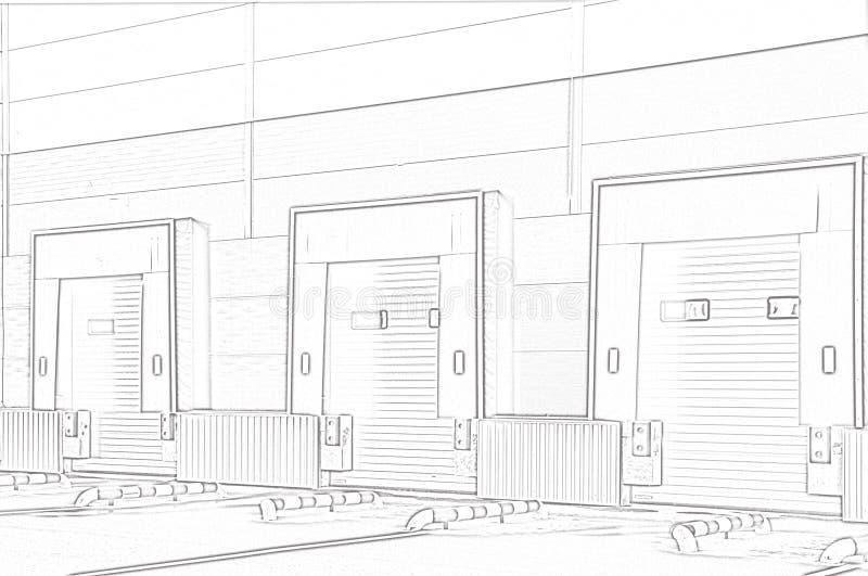 Complesso di logistica del magazzino portoni di carico illustrazione di stock