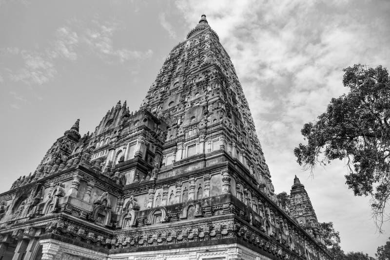 Complesso impressionante del tempio di Mahabodhi in fico delle indie orientali Gaya immagini stock libere da diritti