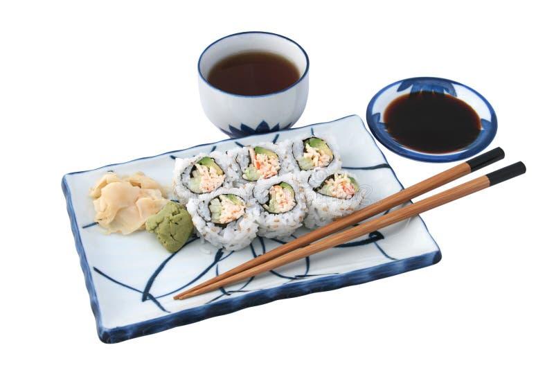 Complet de repas de sushi d'isolement photographie stock libre de droits