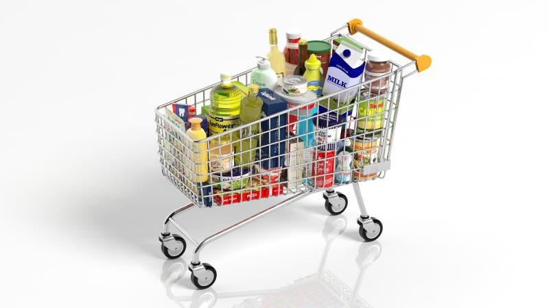 Completamente com compra do supermercado dos produtos ilustração stock