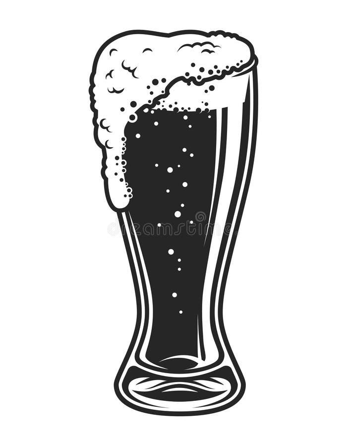 Completamente do molde do copo do vidro de cerveja ilustração do vetor