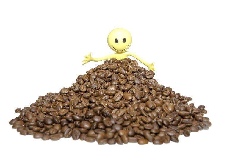 Completamente dos feijões - homem feliz do feijão de café do smiley imagem de stock royalty free