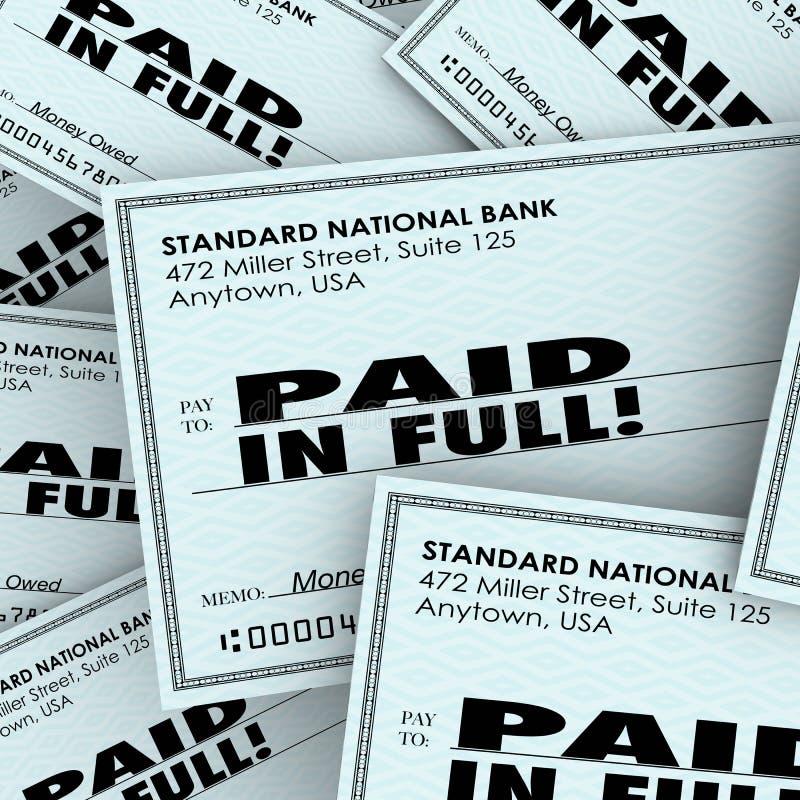 Completamente le parole pagate controllano il mucchio delle fatture di soldi che paga l'obbligo dovuto illustrazione vettoriale
