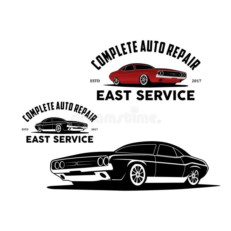 Complete auto repair logo vector. Logo car speed car shop and auto repair logo vector,auto repair car badge,Sport car auto vintage logo vector,Modern speed car royalty free illustration