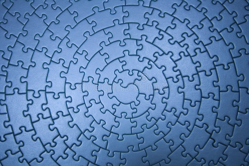 Complete blue jigsaw wide angle royalty free stock photos