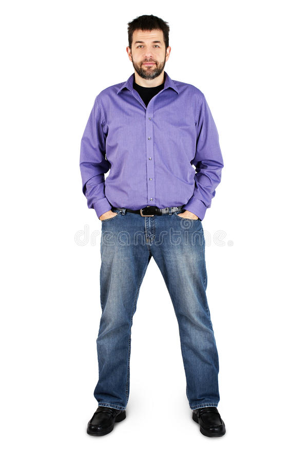 Casual Man Full Body Over White Royalty Free Stock Photos
