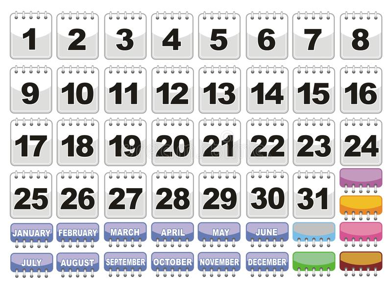 Download Complete Calendar. Icons Set. Stock Vector - Image: 24886776