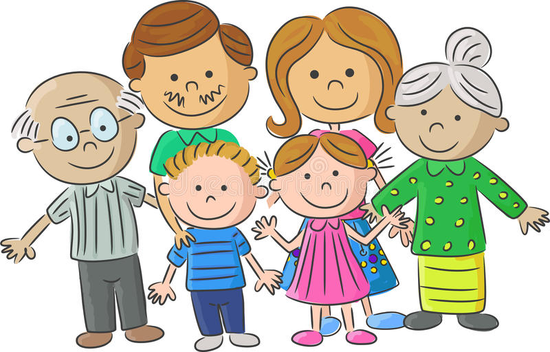complete cartoon family care parents with children stock vector
