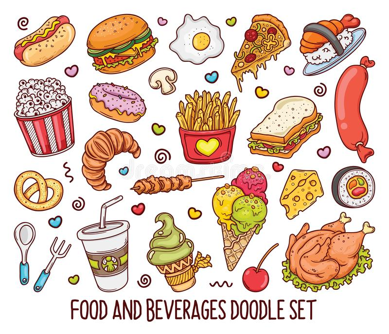 Hand drawn set of Color Food doodles in vector-01 stock illustration