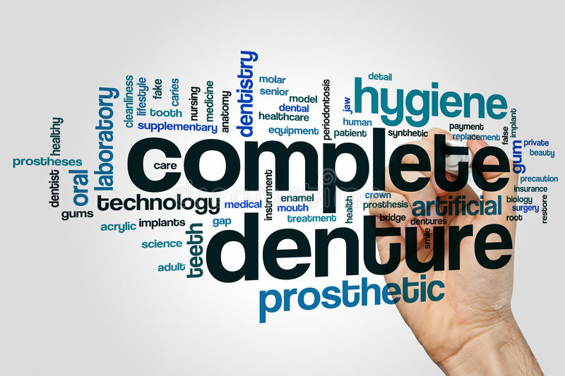 Complete denture word cloud concept on grey background stock images