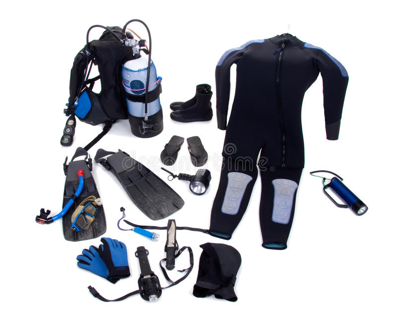 Complete diving equipment isolated royalty free stock images