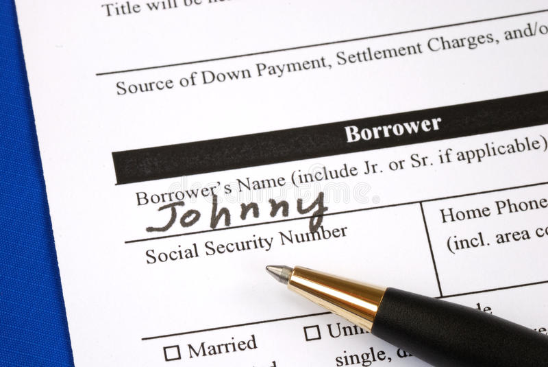 Complete el formulario de inscripción de hipoteca imagenes de archivo