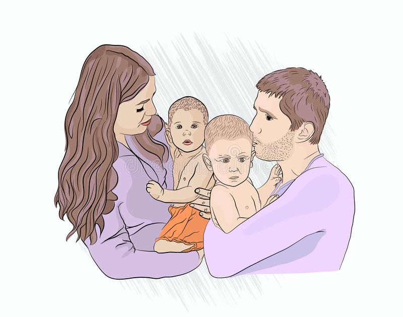 Complete family. mom dad and. Two children. sketching style on white isolated background royalty free illustration