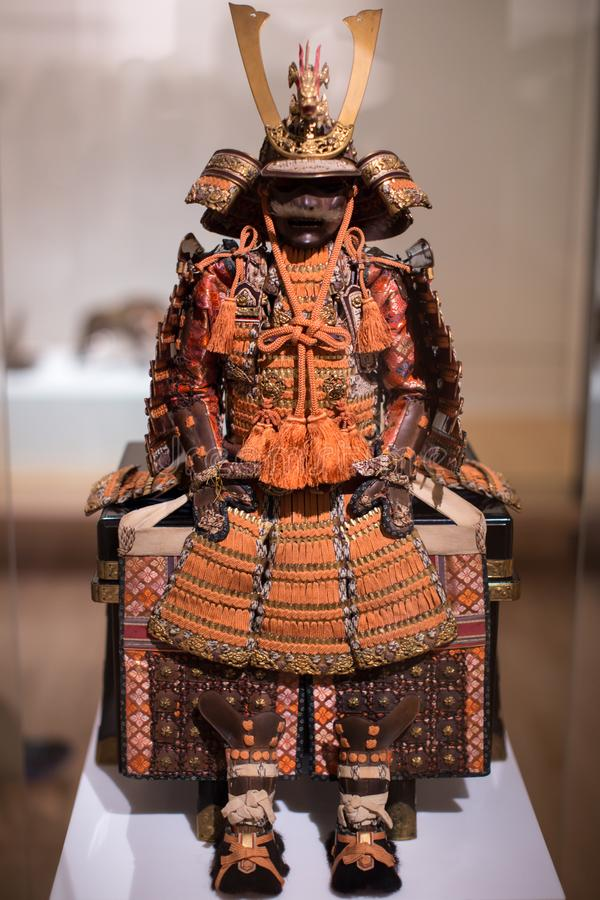 Japanese Samurai Armor on Display. A complete Japanese Samurai Warlord Armor royalty free stock images