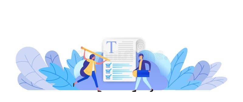 Complete las opciones en un examen o una encuesta tome la decisión correcta para conseguir soluciones del negocio y el concepto d libre illustration