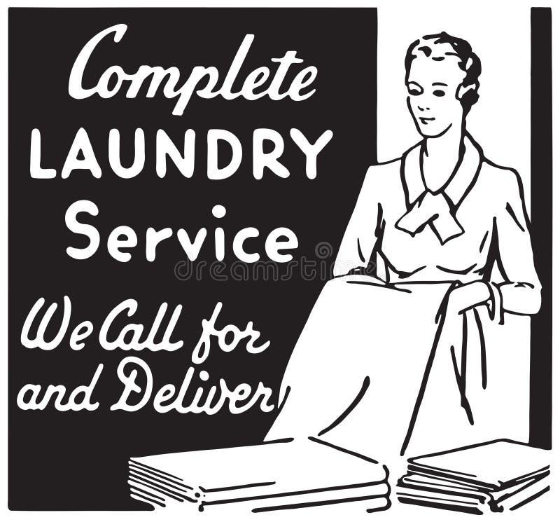 Complete Laundry Service. Retro Ad Art Banner stock illustration
