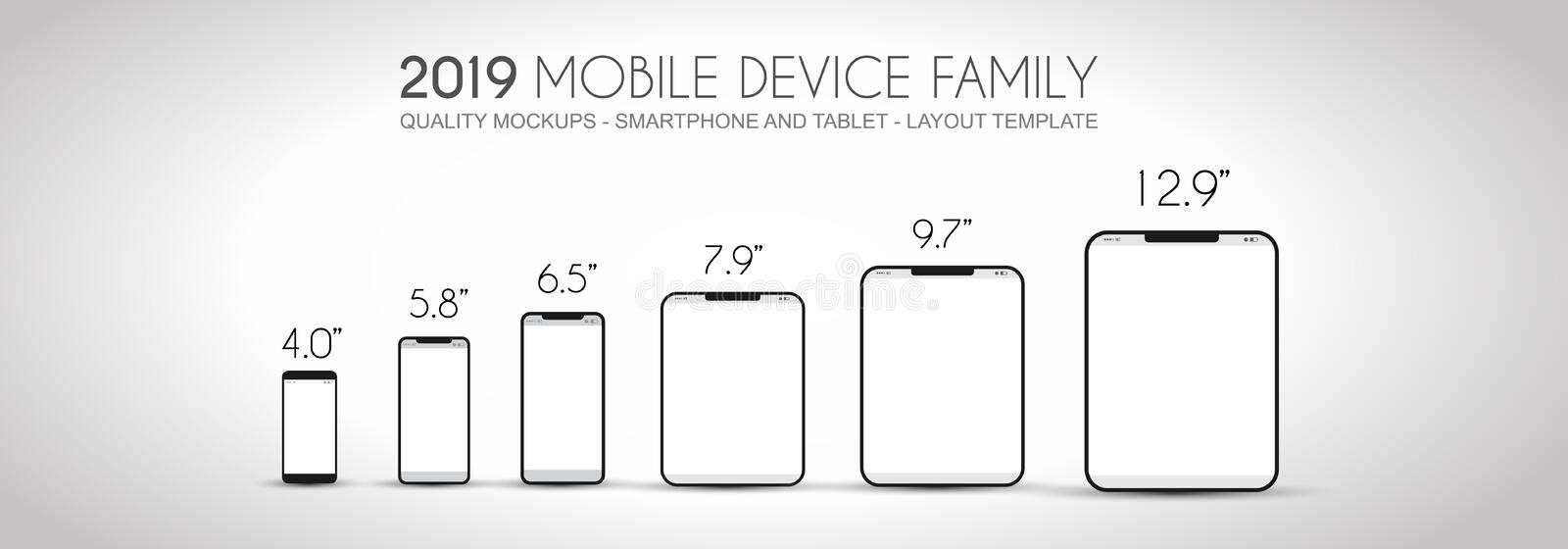 Complete Next generation device family included mobile phones, t royalty free illustration