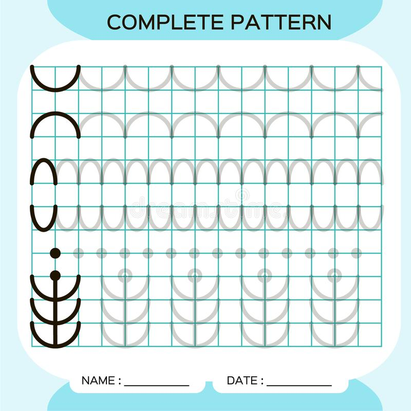Complete Pattern. Tracing Lines Activity For Early Years. Preschool  Worksheet For Practicing Fine Motor Skills. Tracing Stock Vector -  Illustration Of Education, Motor: 163022617