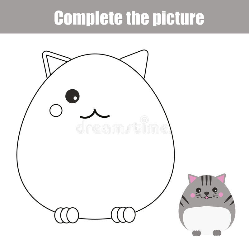 Download Complete Picture Children Educational Game Coloring Page Kids Activity Sheet With Cute Cat