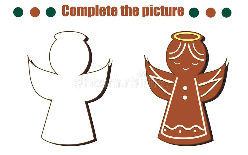 Complete the picture educational game. Draw angel gingerbread cookie. New Year, Christmas theme activity for toddlers, kids royalty free illustration