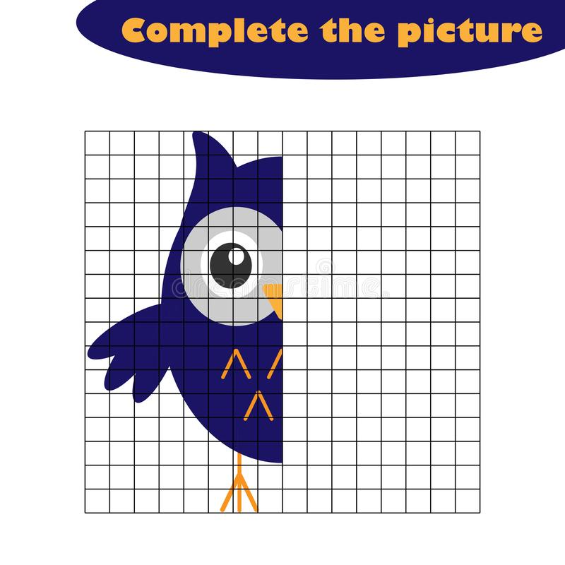 Complete the picture, owl in cartoon style, drawing skills training, educational paper game for the development of children, kids vector illustration