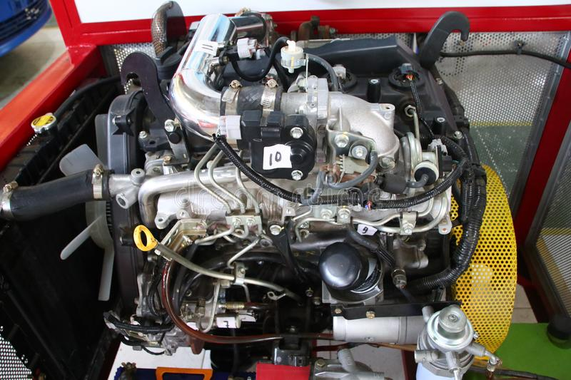 A complete picture of the Toyota Fortuner engine, the type of diesel engine,. To be made to study the practice of car engine technicians in the workshop, Batang royalty free stock photo